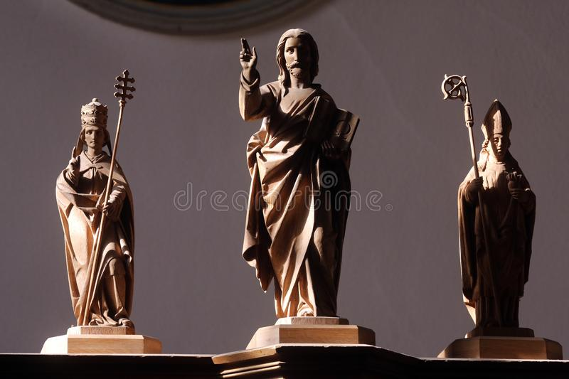 Jesus Savior with Saints. The parish church of St. Peter and Paul in Oberstaufen, Germany royalty free stock images