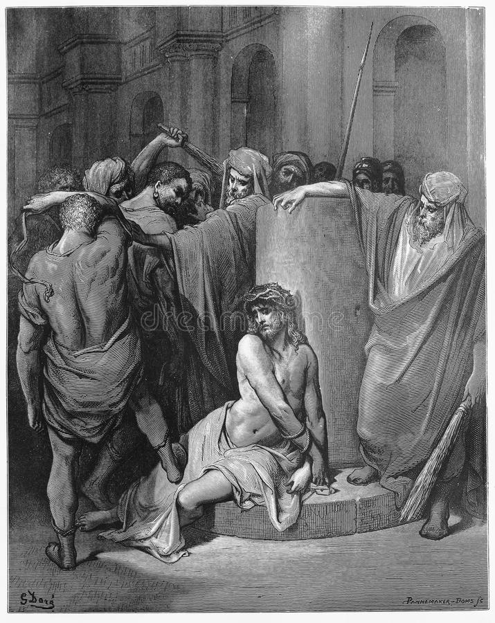 Jesus Scourged. Picture from The Holy Scriptures, Old and New Testaments books collection published in 1885, Stuttgart-Germany. Drawings by Gustave Dore