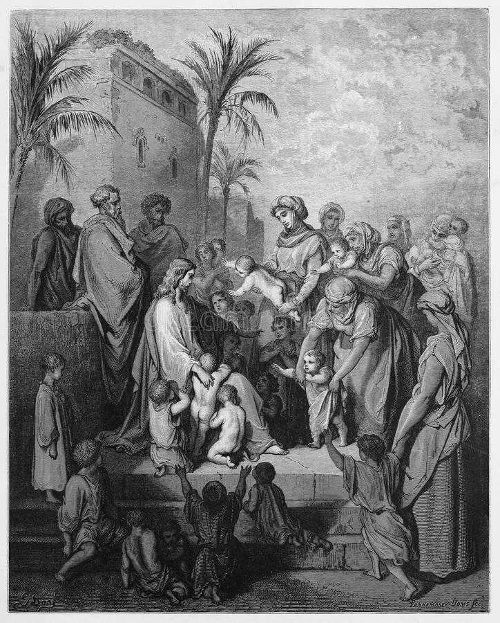 Jesus segnet die kleinen Kinder lizenzfreie stockfotografie
