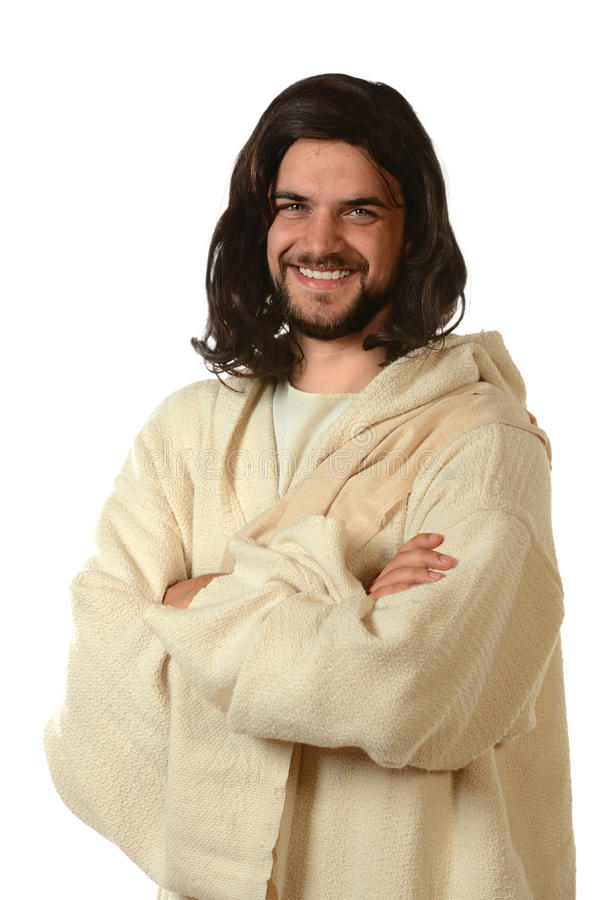 Jesus Smiling With Arms Crossed. Portrait of Jesus smiling with arms crossed isolated over white background stock photography
