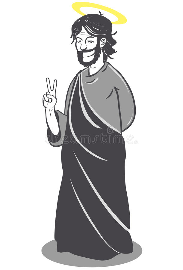 Download Jesus Smiling And Making Victory Sign Stock Vector - Illustration of human, shadow: 18966430