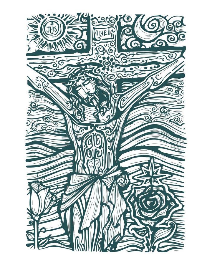 Jesus sol och måne royaltyfri illustrationer