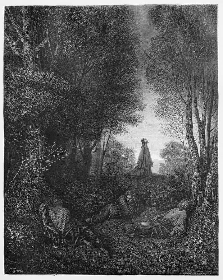 Jesus som ber i trädgården royaltyfri foto