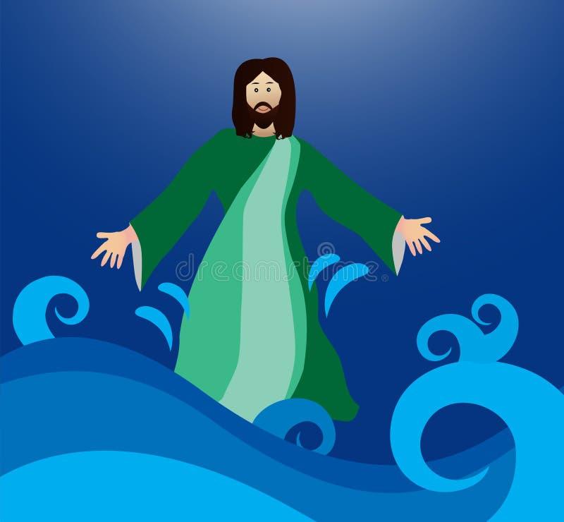 Jesus som går på vattnet royaltyfri illustrationer