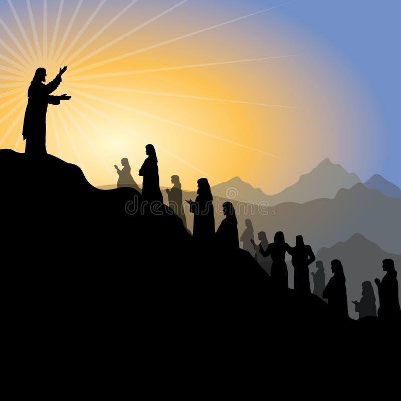 Jesus som ger predikan på monteringen royaltyfri illustrationer
