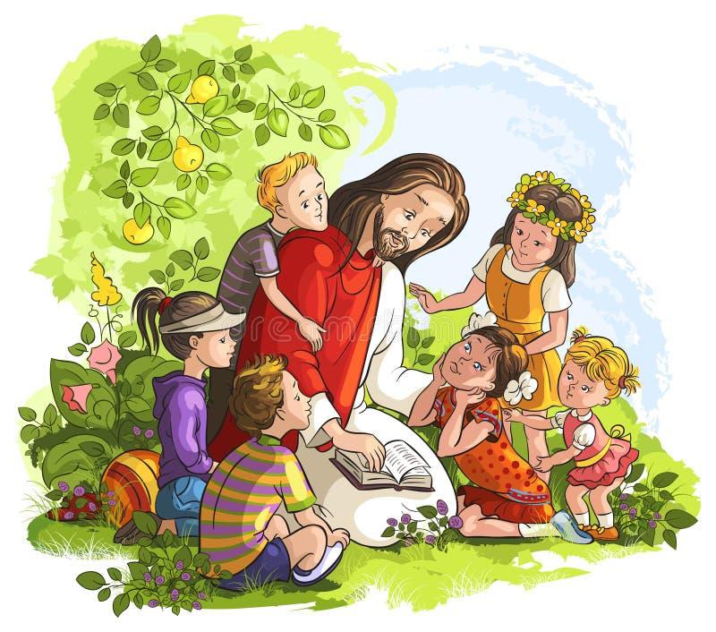 Jesus som läser bibeln med barn vektor illustrationer