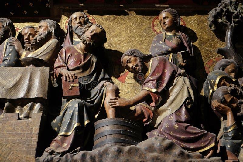 Jesus som tvättar foten av St Peter royaltyfri foto