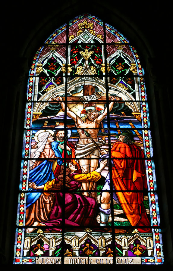 Jesus Stained Glass. Jesus Died On the Cross Stained Glass royalty free stock photo