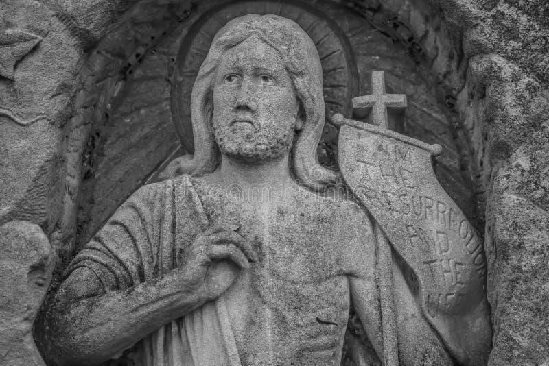 Jesus Statue Auferstehung und das Leben lizenzfreies stockfoto