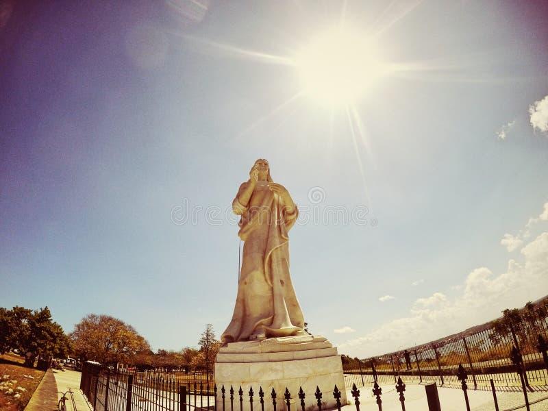 Jesus Statue, Havana Cuba anziana immagini stock libere da diritti