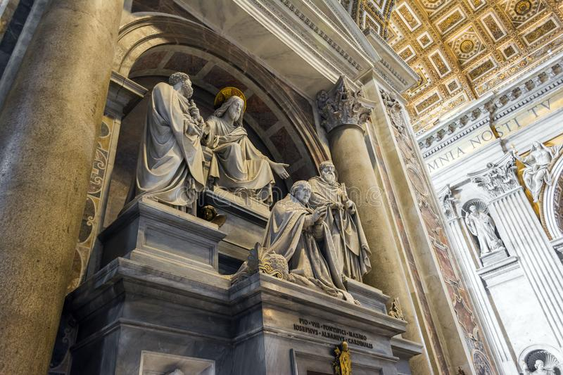 Jesus statue in the Saint Peter Cathedral in Vatican, Italy.  stock photography