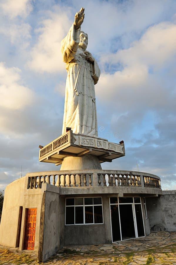 Jesus statue in sunlight stock photo