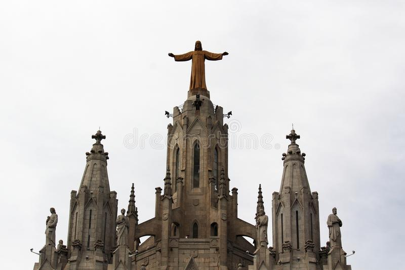 Expiatory Church of the Sacred Heart of Jesus, Tibidabo mountain, Barcelona royalty free stock images