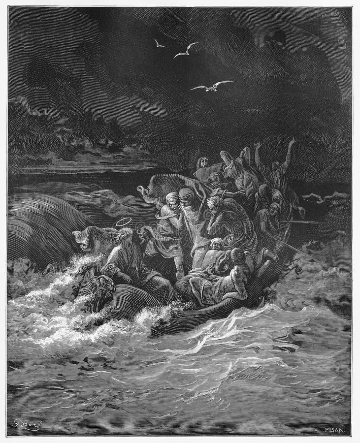 Free Jesus Stilling The Storm Royalty Free Stock Photo - 30368335