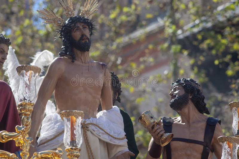 Jesus stripped of his garments, Easter in Seville stock photo