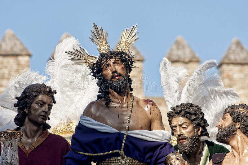 Jesus stripped of his garments, Easter in Seville. Step mystery of the Brotherhood of Jesus stripped of his garments in the celebration of Holy Week in Seville stock photos
