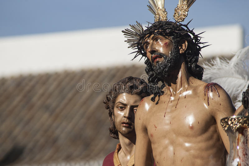 Jesus stripped of his garments, Easter in Seville. Step mystery of the Brotherhood of Jesus stripped of his garments in the celebration of Holy Week in Seville stock image