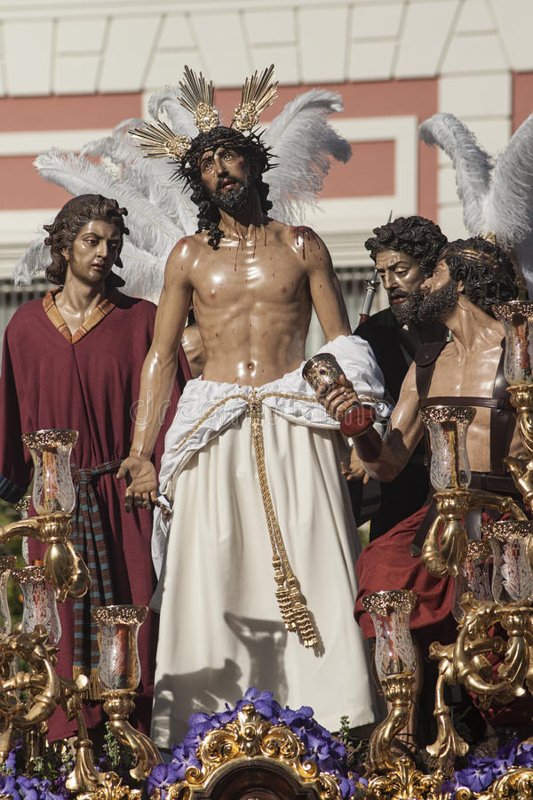 Jesus stripped of his garments, Easter in Seville. Step mystery of the Brotherhood of Jesus stripped of his garments in the celebration of Holy Week in Seville royalty free stock photo