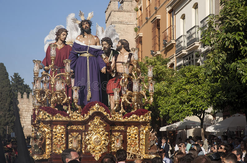 Jesus stripped of his garments, Easter in Seville. Step mystery of the Brotherhood of Jesus stripped of his garments in the celebration of Holy Week in Seville royalty free stock image