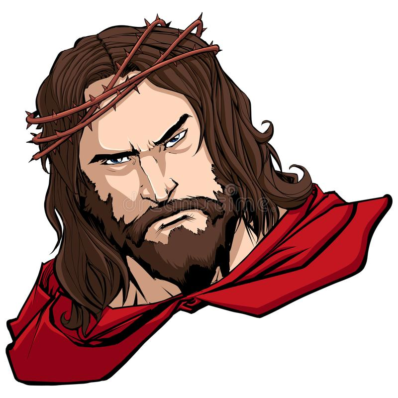 Jesus Superhero Portrait ilustração royalty free
