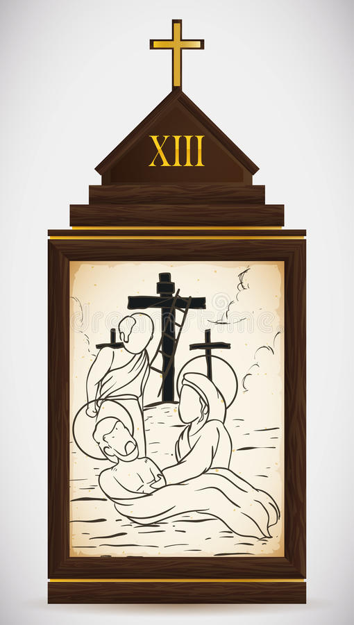Jesus is Taken Down from the Cross, Vector Illustration stock photography