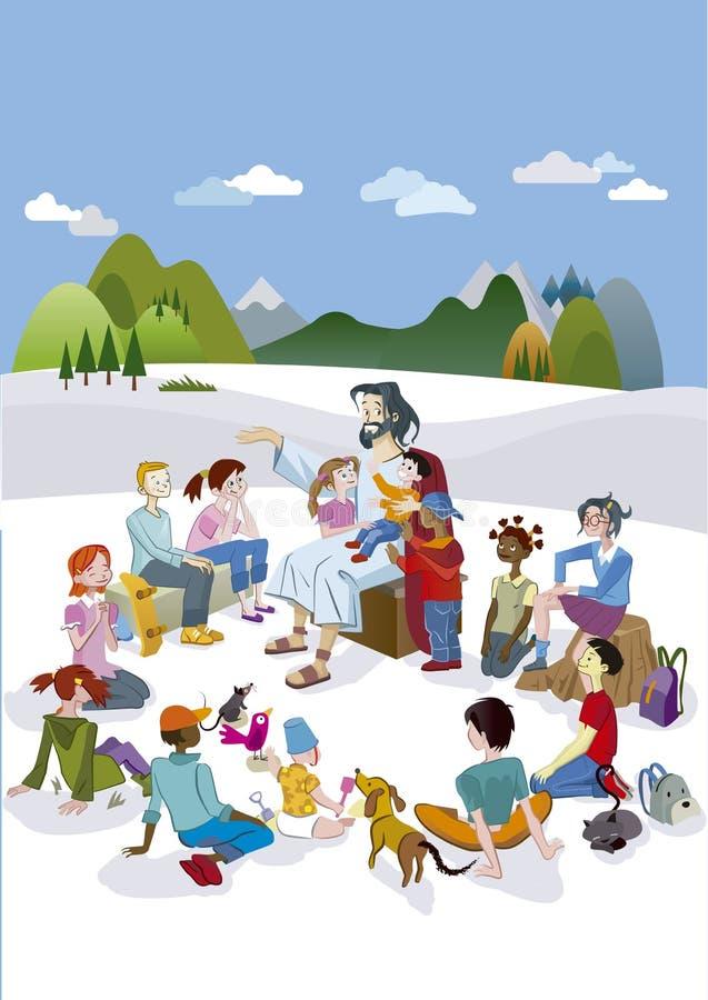 Jesus Talking às crianças verticais ilustração do vetor