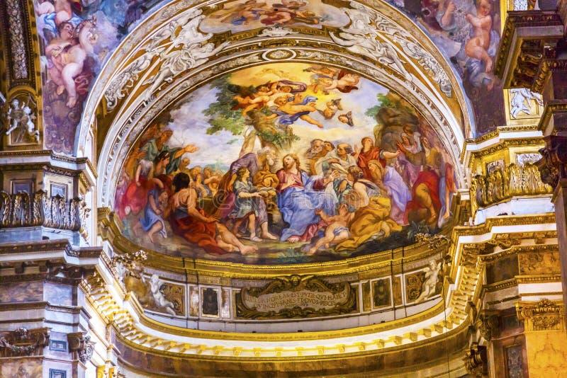 Jesus Teaching Fresco Santa Maria Maddalena Church Rome Italy royalty-vrije stock afbeelding