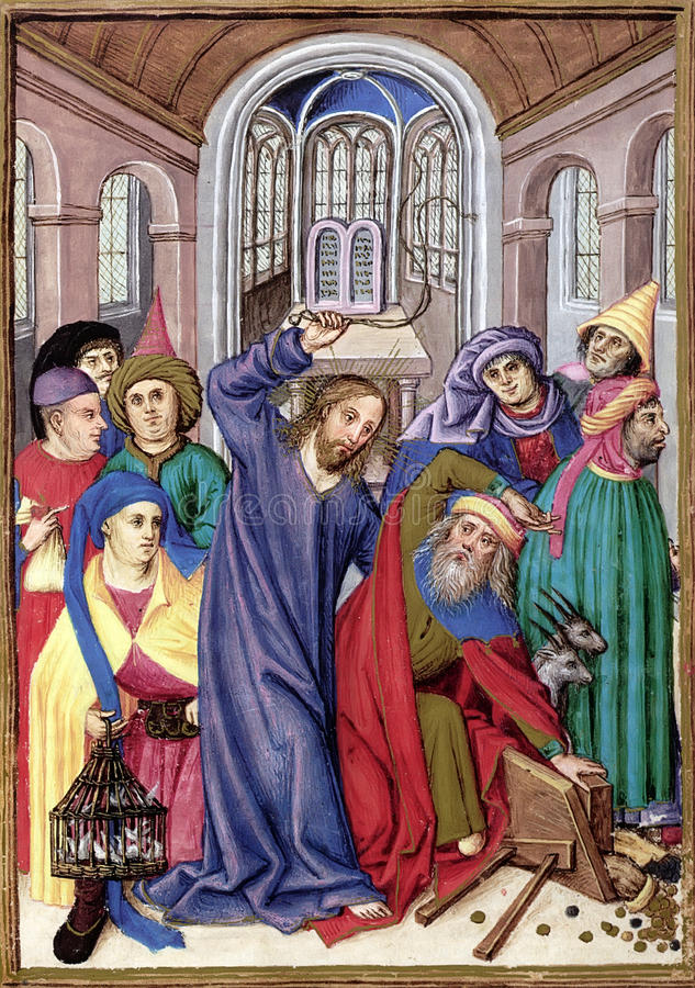 Jesus at the Temple. Biblical theme - New Testament - Jesus drives the Traders from the Temple. Reproduction of illustration from a Breviary, Bavaria (16th stock illustration