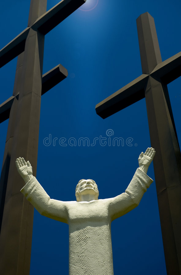 Jesus and three crosses royalty free stock image
