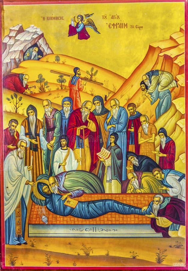 Jesus Tomb Golden Icon Saint George Church Madaba Jordan stockfotografie