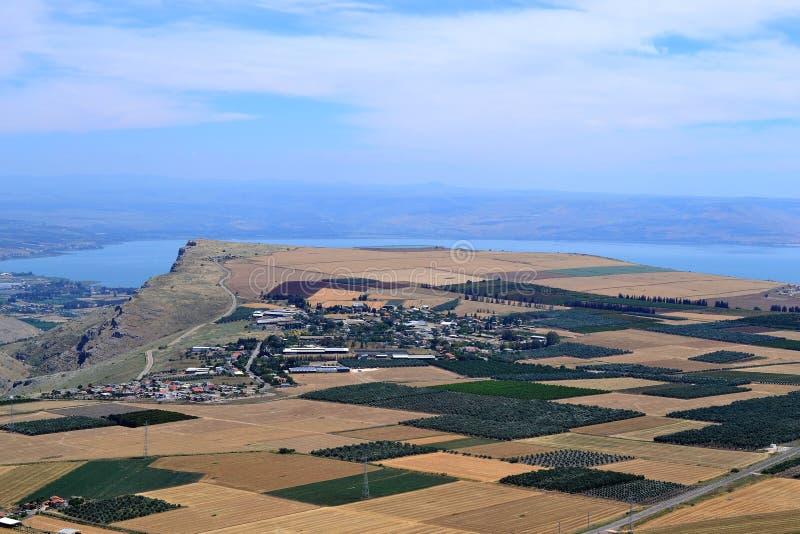 Jesus Trail - facendo un'escursione attraverso la campagna della Galilea nel tempo di primavera, da Nazaret al mare della Galilea fotografia stock