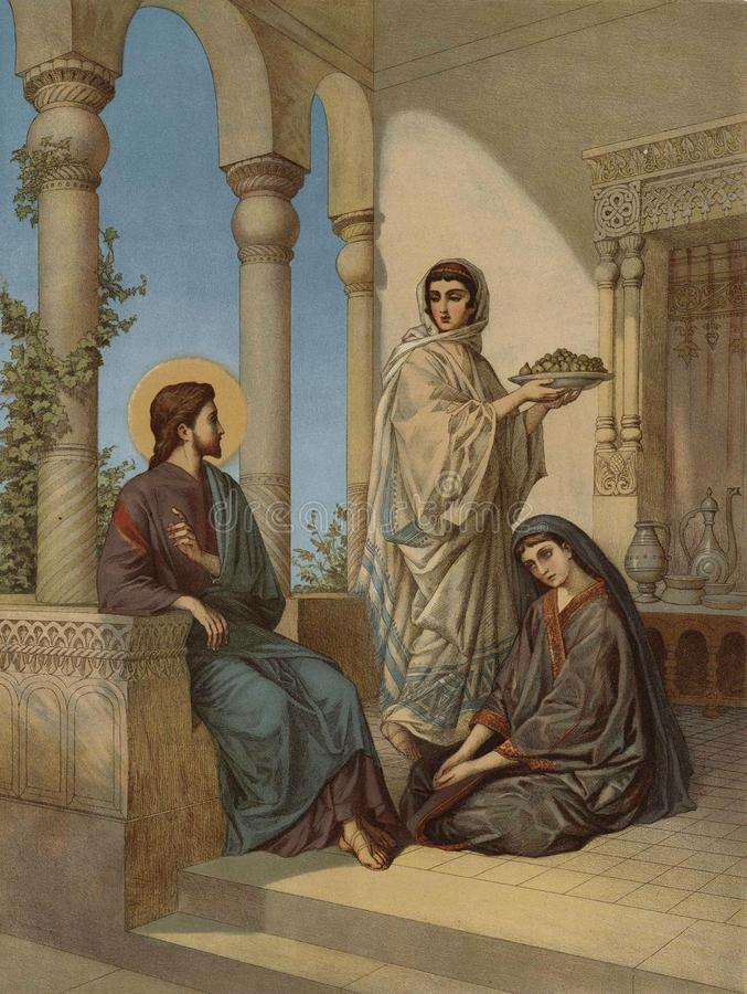 Jesus and two sisters royalty free illustration