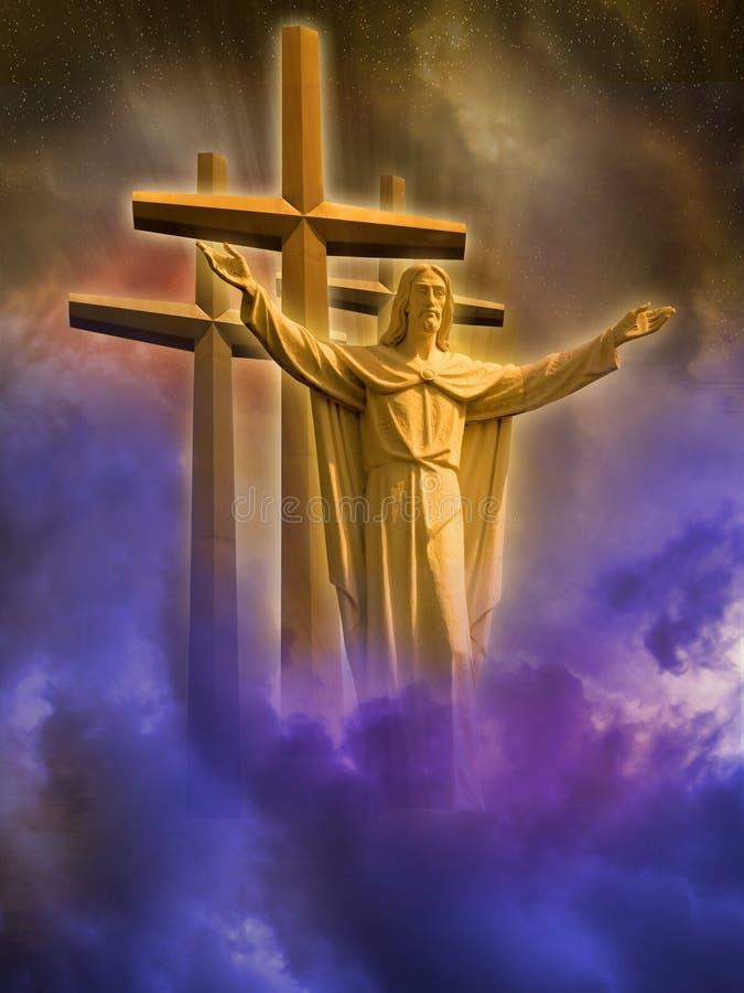 Jesus und Kreuze lizenzfreie abbildung
