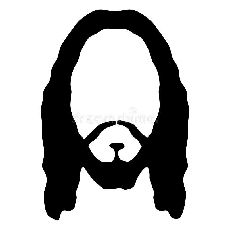Jesus vänder mot skägghårhuvudet Man för avatar för kontur för Kristussongud Religionbibelperson royaltyfri illustrationer