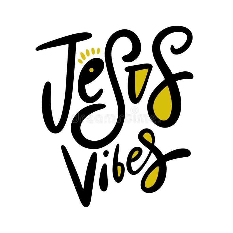 Jesus Vibes Letras exhaustas de la frase de la mano Aislado en el fondo blanco ilustración del vector
