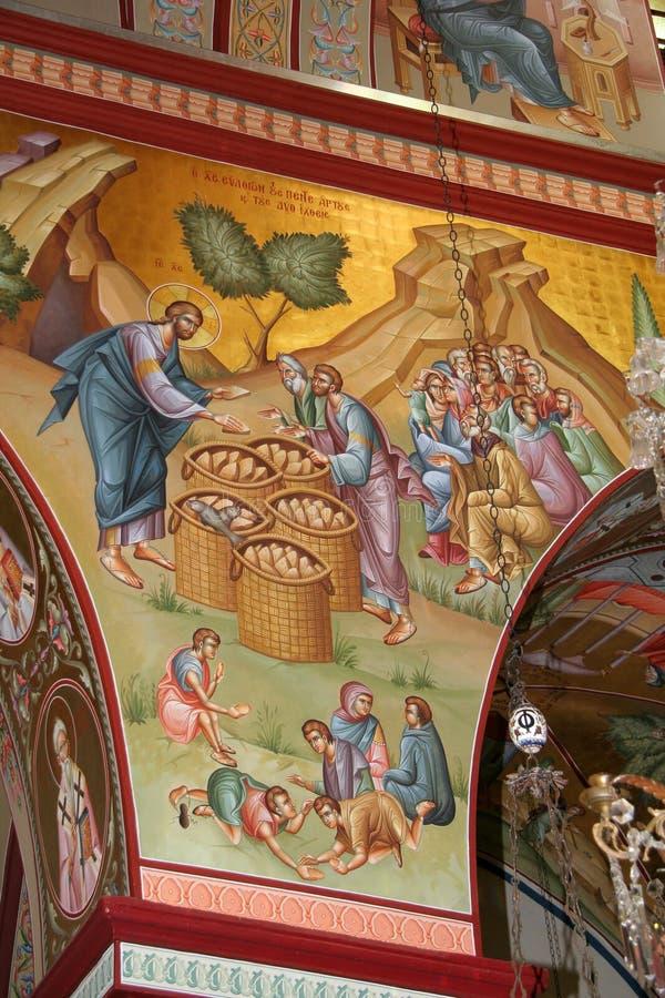 Jesus voedt de Massa, fresko stock fotografie