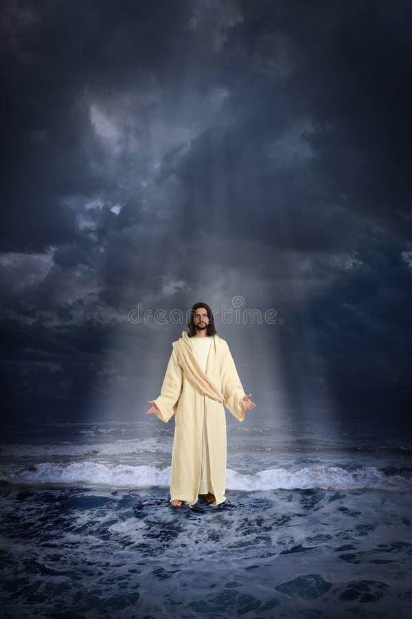 Jesus Walking op het water royalty-vrije stock fotografie
