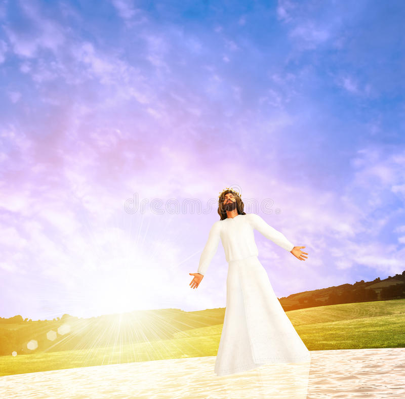 Jesus Walks On The Water illustration royaltyfri illustrationer