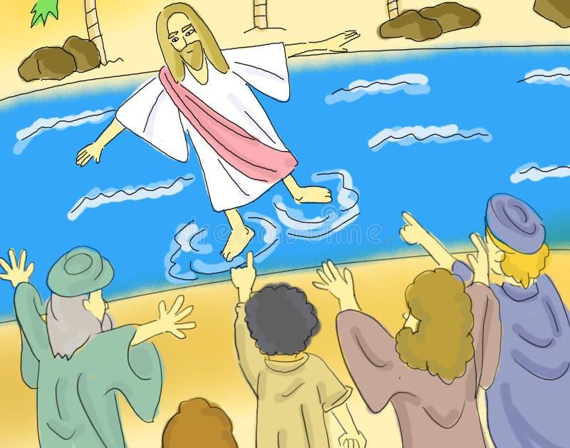 Jesus Walks On The Water Illustration stock illustration