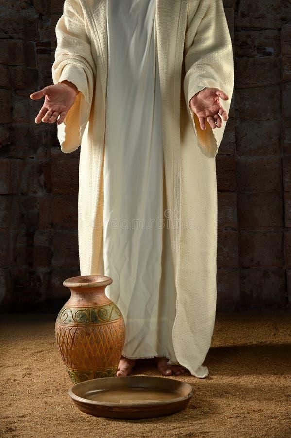 Jesus With Water Jar et casserole photos stock