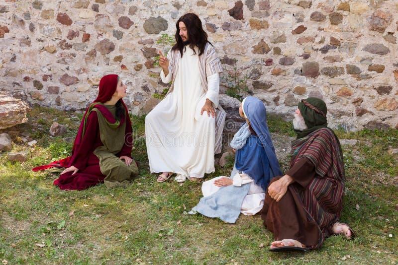Jesus, welche einer Parabel sagt stockfotografie