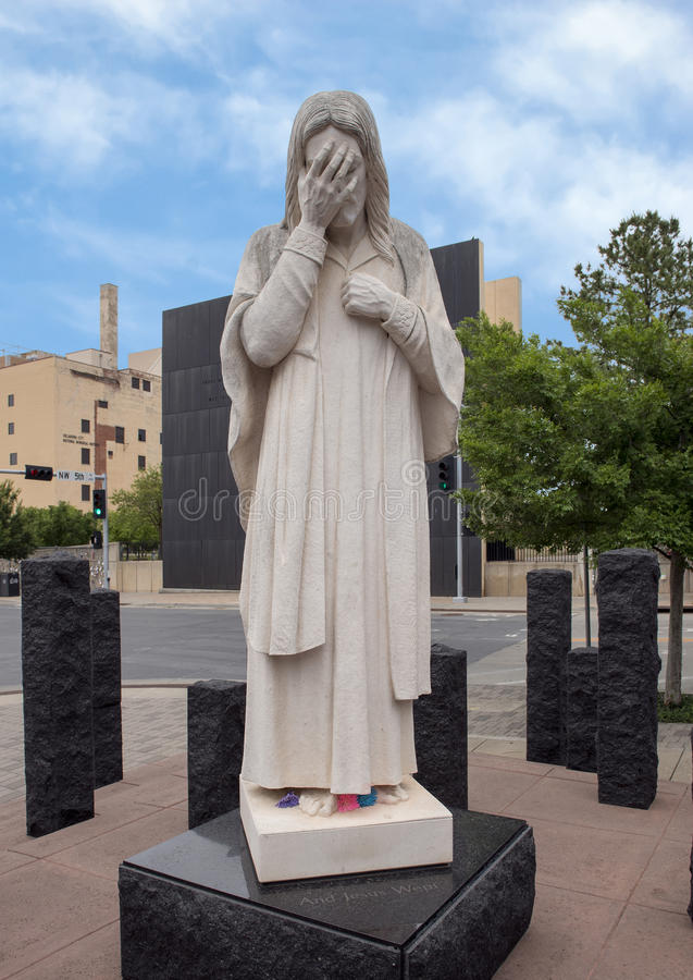 And Jesus Wept Statue, Oklahoma City National Memorial & Museum stock images