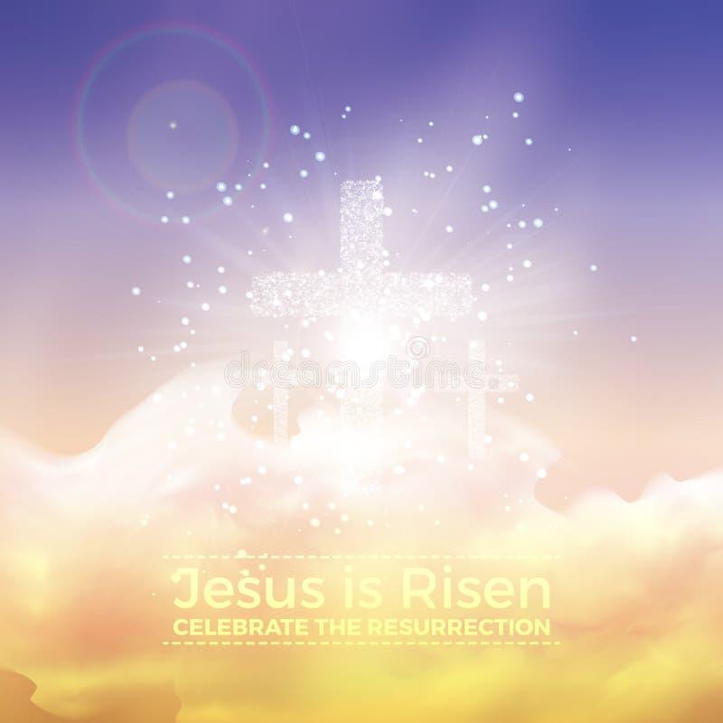 Jesus wird gestiegen, Ostern-Illustration mit Transparenz und Steigungsmasche lizenzfreie abbildung