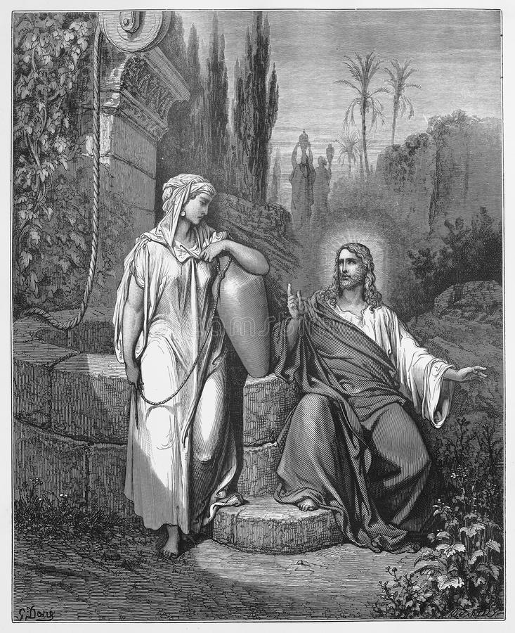 Jesus and the woman from Samaria. Picture from The Holy Scriptures, Old and New Testaments books collection published in 1885, Stuttgart-Germany. Drawings by