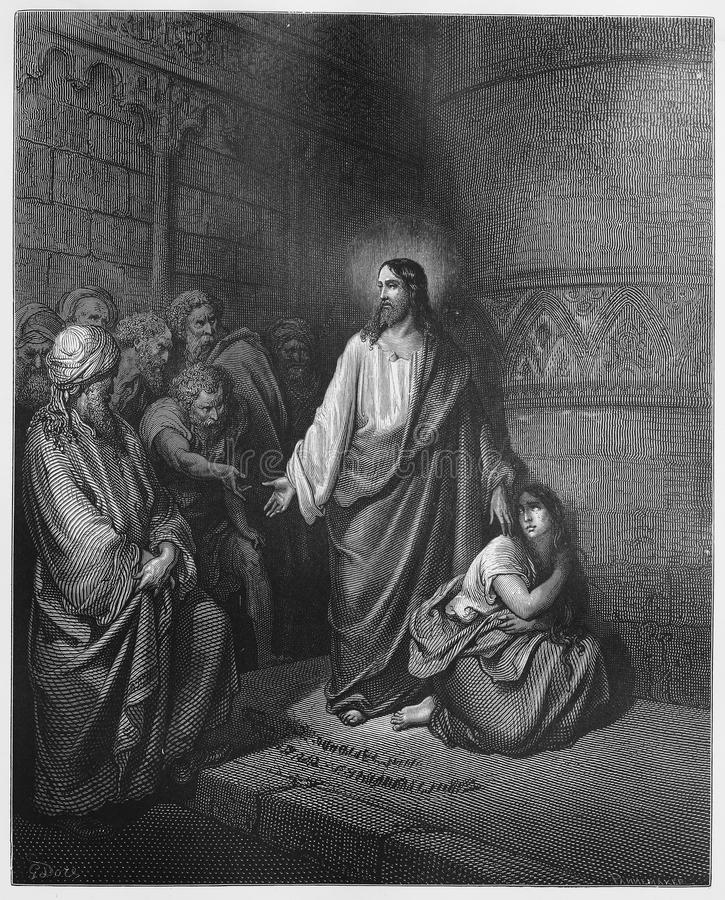 Jesus and the Woman Taken in Adultery. Picture from The Holy Scriptures, Old and New Testaments books collection published in 1885, Stuttgart-Germany. Drawings