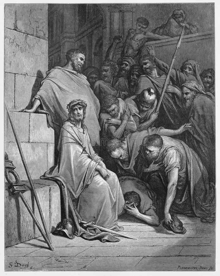 Jesus wordt bespot royalty-vrije illustratie
