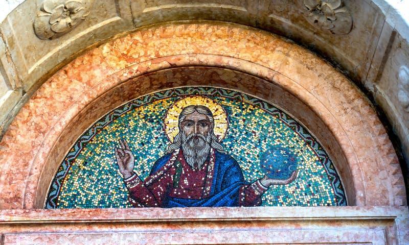 Jesus World Mosaic Santa Maria del Rosario Street Venice Italy royaltyfria foton