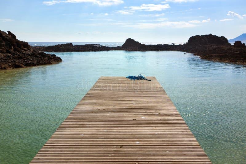 Jetée dans une lagune chez Los Lobos photographie stock libre de droits