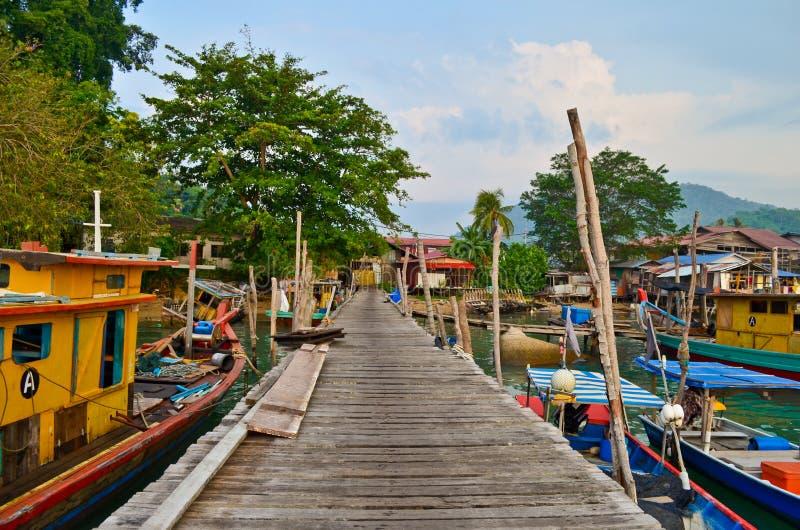 Jetée de pêcheurs d'île de Pangkor photos stock