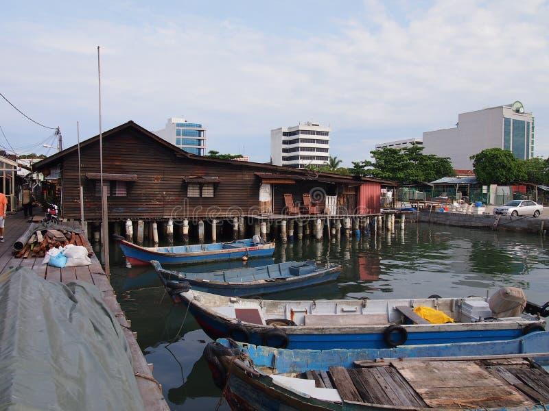 Jetée de village à Penang photos libres de droits